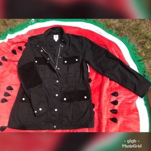 NWT Black Gap Utility Jacket with Embroidered Back